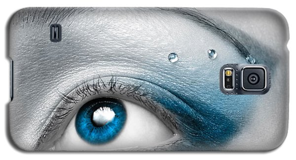 Blue Female Eye Macro With Artistic Make-up Galaxy S5 Case by Oleksiy Maksymenko