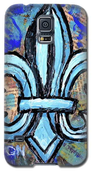 Galaxy S5 Case featuring the mixed media Blue Fleur De Lis by Genevieve Esson