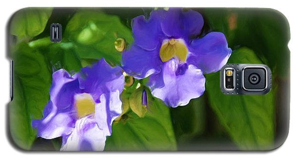 Galaxy S5 Case featuring the painting Blue Flower by Jan Daniels