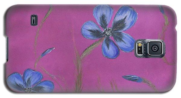 Blue Flower Magenta Background Galaxy S5 Case