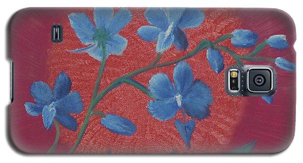 Blue Flower On Magenta Galaxy S5 Case