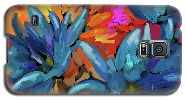 Galaxy S5 Case featuring the painting Blue Flowers 2 by DC Langer