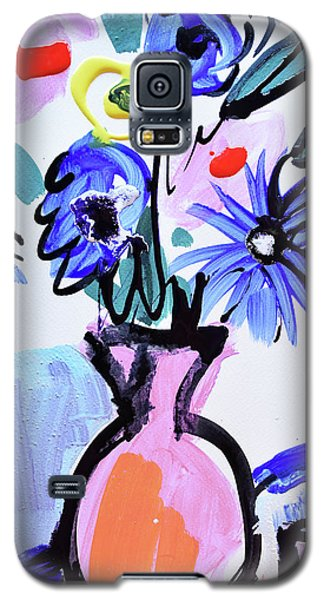 Blue Flowers And Coffee Cup Galaxy S5 Case