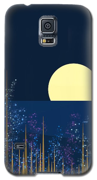 Blue Flowers Bloom At Night Galaxy S5 Case