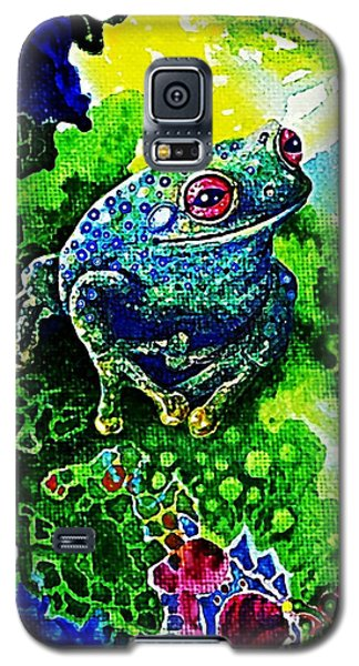 Galaxy S5 Case featuring the painting Blue  Frog by Hartmut Jager