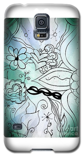 Blue Funky Flower Doodles Galaxy S5 Case