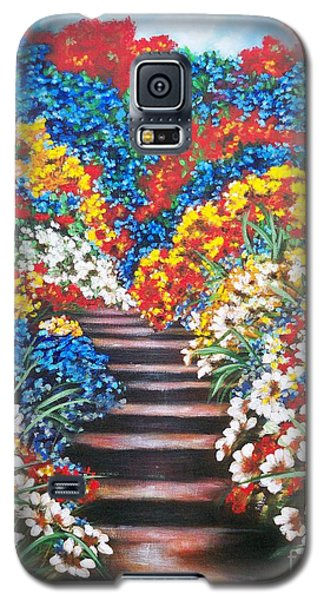 Galaxy S5 Case featuring the painting Blue Garden Cascade by Sigrid Tune