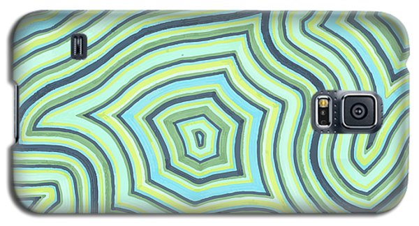 Galaxy S5 Case featuring the drawing Blue Green Pattern Play by Jill Lenzmeier