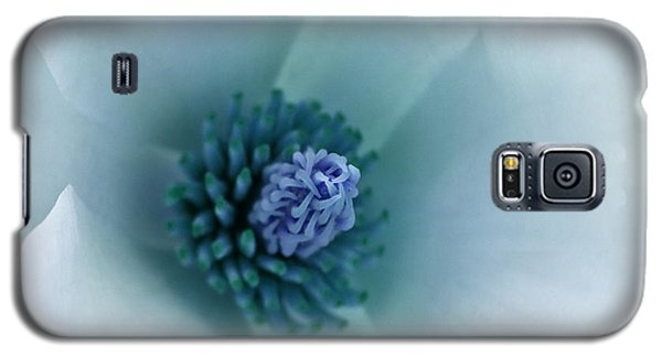 Galaxy S5 Case featuring the photograph Abstract Blue Green White Flowers Macro Photography Art Work by Artecco Fine Art Photography
