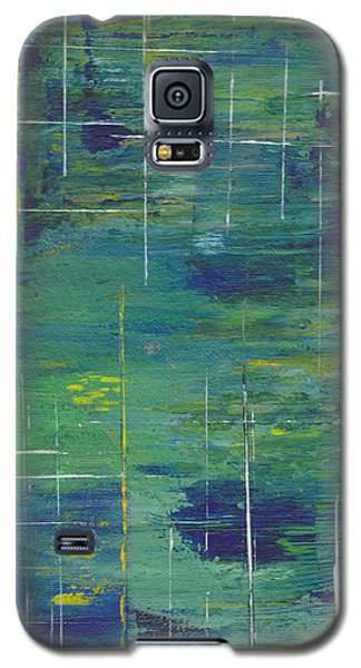 Blue Green Yellow Abstract  Galaxy S5 Case by Patricia Cleasby