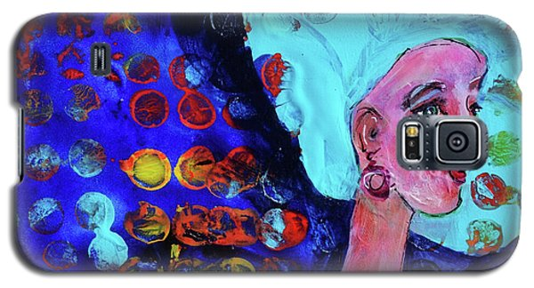 Blue Haired Girl On Windy Day Galaxy S5 Case