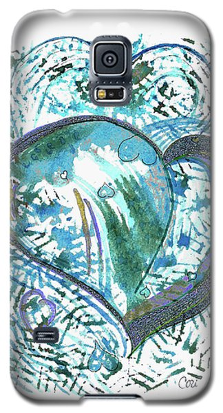 Galaxy S5 Case featuring the painting Blue Heart by Corinne Carroll