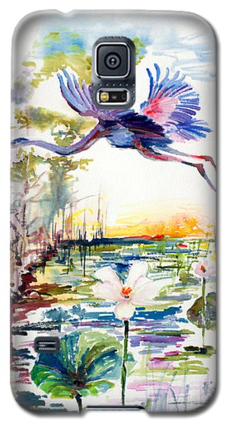 Galaxy S5 Case featuring the painting Blue Heron Glides Over Lotus Flowers by Ginette Callaway