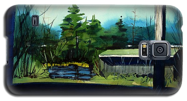 Galaxy S5 Case featuring the painting Blue Heron Lake Matted, Framed, Glassed by Charlie Spear