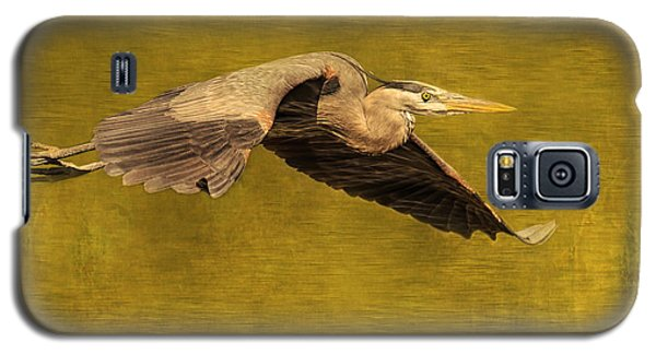 Blue Heron On Gold Galaxy S5 Case by CR  Courson