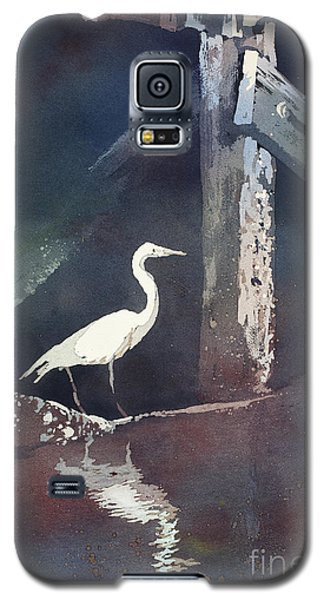 Galaxy S5 Case featuring the painting Blue Heron- Outer Banks by Ryan Fox