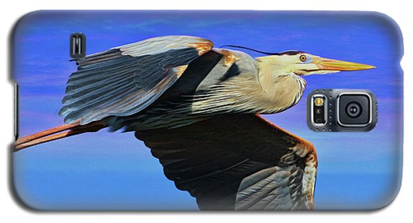 Galaxy S5 Case featuring the painting Blue Heron Series Fly by Deborah Benoit