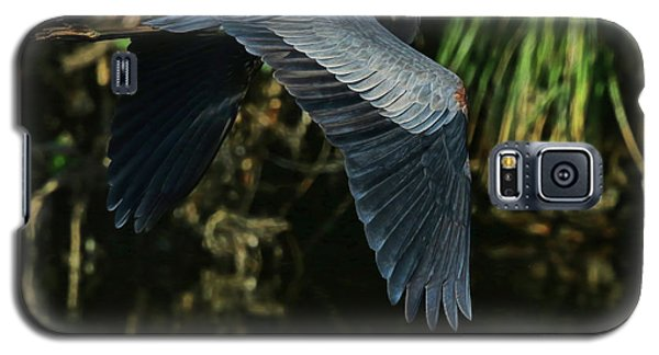 Galaxy S5 Case featuring the photograph Blue Heron Series The Pond by Deborah Benoit