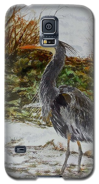 Galaxy S5 Case featuring the painting Blue Heron by Sher Nasser
