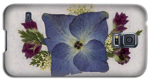 Blue Hydrangea Pressed Floral Design Galaxy S5 Case