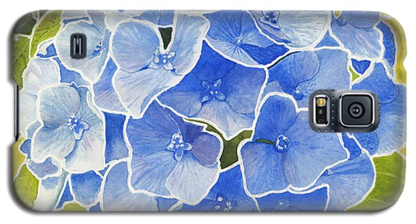 Blue Hydrangea Stained Glass Look Galaxy S5 Case