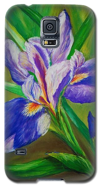 Galaxy S5 Case featuring the painting Blue Iris by Debbie Baker