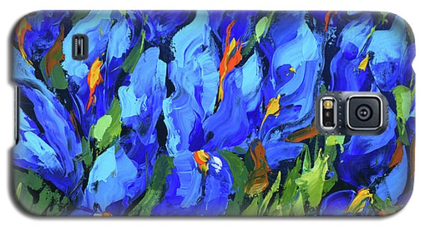 Galaxy S5 Case featuring the painting Blue Irises by Dmitry Spiros