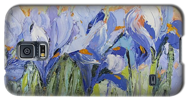 Blue Irises Palette Knife Painting Galaxy S5 Case by Chris Hobel