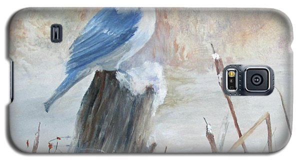 Galaxy S5 Case featuring the painting Blue Jay In Winter by Roseann Gilmore