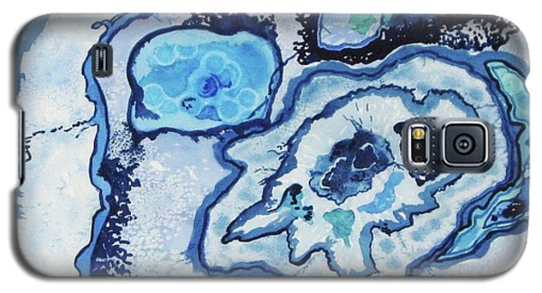 Galaxy S5 Case featuring the painting Blue Lace Agate I by Ellen Levinson