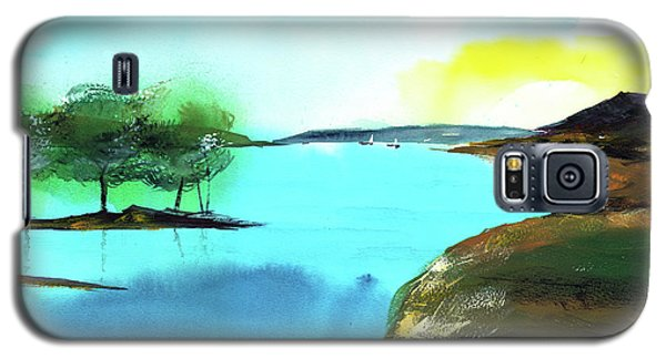 Galaxy S5 Case featuring the painting Blue Lake by Anil Nene