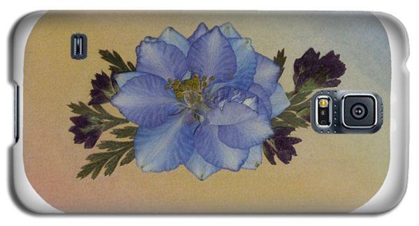 Blue Larkspur And Oregano Pressed Flower Arrangement Galaxy S5 Case