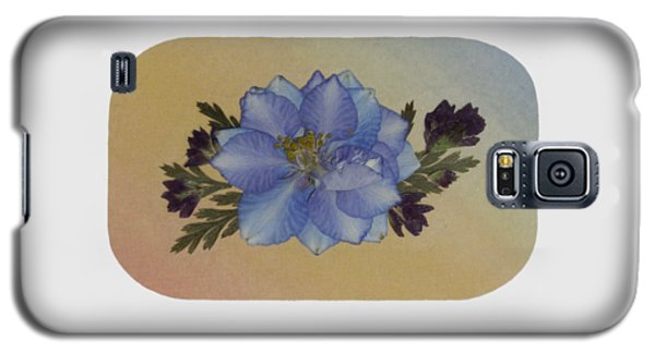 Blue Larkspur And Oregano Pressed Flower Arrangement Galaxy S5 Case