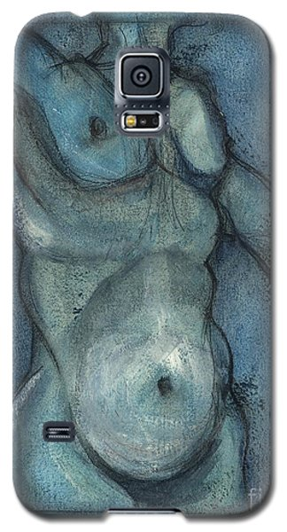 Galaxy S5 Case featuring the painting Blue Marvel, Superhero - Male Nude by Carolyn Weltman