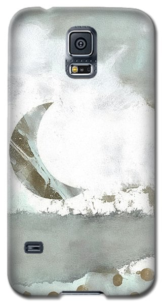 Galaxy S5 Case featuring the mixed media Blue Moonset Monoprint Collage by Carol Leigh