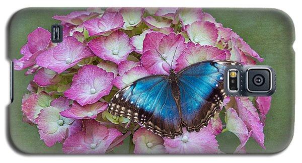 Blue Morpho Butterfly On Pink Hydrangea Galaxy S5 Case