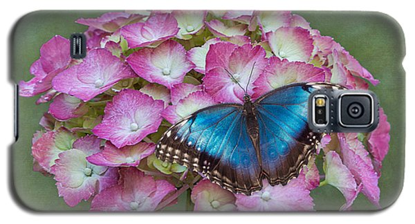 Blue Morpho Butterfly On Pink Hydrangea Galaxy S5 Case