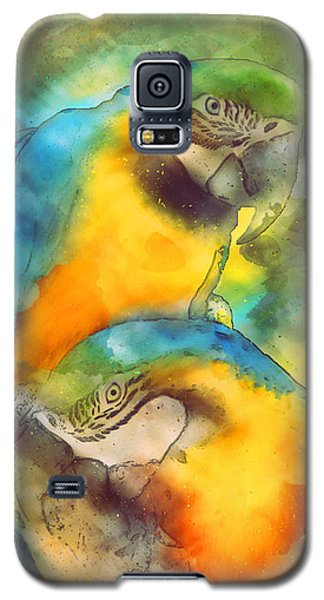 Blue N Gold Macaws Galaxy S5 Case by Methune Hively