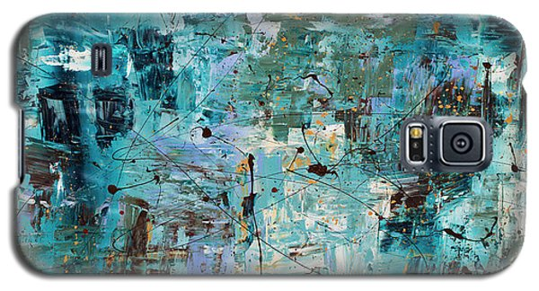 Galaxy S5 Case featuring the painting Blue Ocean - Abstract Art by Carmen Guedez