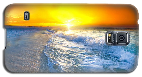 Galaxy S5 Case featuring the photograph Blue Ocean Landscape Wave Photography Red Surise by Eszra Tanner