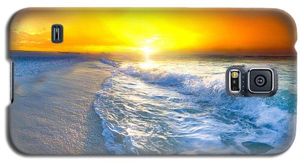 Blue Ocean Landscape Wave Photography Red Surise Galaxy S5 Case