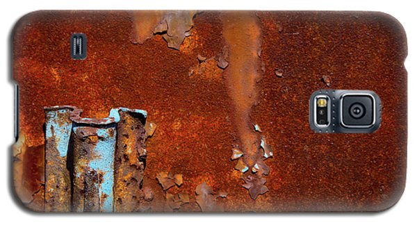 Galaxy S5 Case featuring the photograph Blue On Rust by Karol Livote
