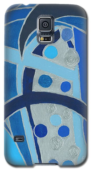 Galaxy S5 Case featuring the painting Blue On Silver by Ania M Milo
