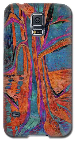 Blue-orange Warm Dusk River Tree Galaxy S5 Case