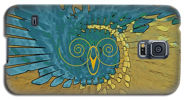Galaxy S5 Case featuring the digital art Abstract Blue Owl by Ben and Raisa Gertsberg