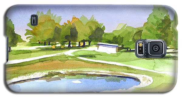 Galaxy S5 Case featuring the painting Blue Pond At The A V Country Club by Kip DeVore