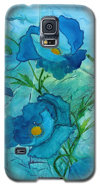 Blue Poppies, Watercolor On Yupo Galaxy S5 Case