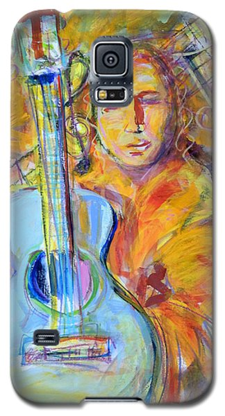 Galaxy S5 Case featuring the painting Blue Quitar by Mary Schiros