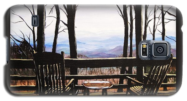 Galaxy S5 Case featuring the painting Blue Ridge Mountain Porch View by Patricia L Davidson