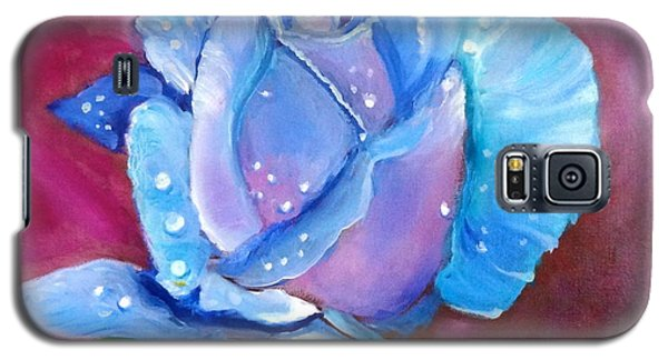 Blue Rose With Dew Drops Galaxy S5 Case by Jenny Lee